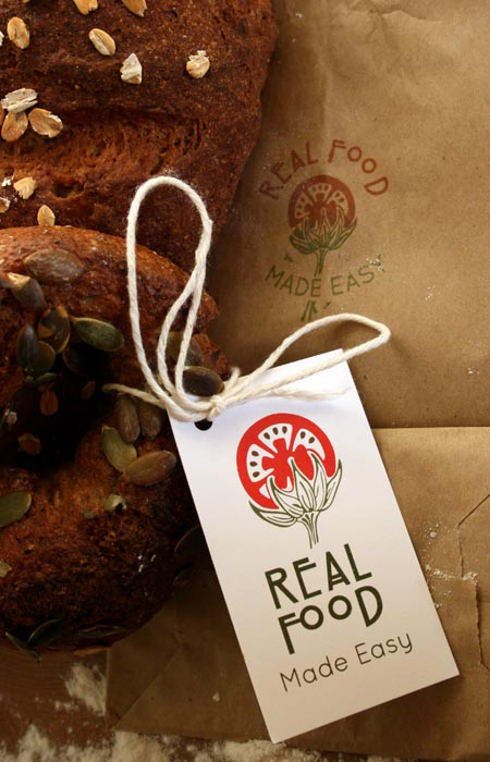 logo design; real food made easy