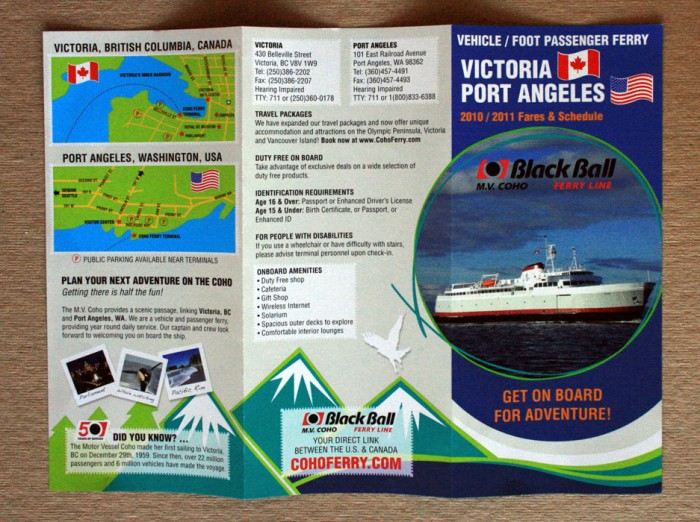 Schedule brochure design for Blackball Ferry