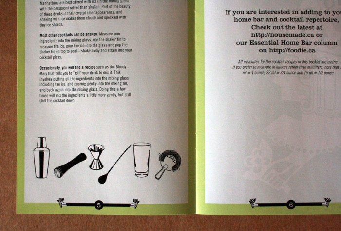 Design for Housemade's cocktail recipe book