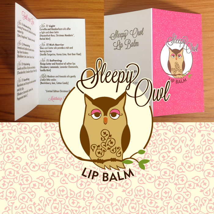 Logo and package design for Sleepy Owl Lip Balms.