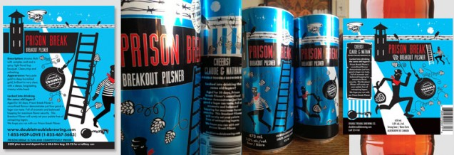 Prison Break Break Out Pilsner; info sheet, tall boy can design and 650 mL bottle label design