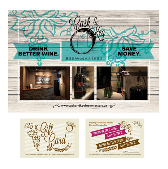 Cask and Keg Brochure, Postcard, Gift Card, and Menu design