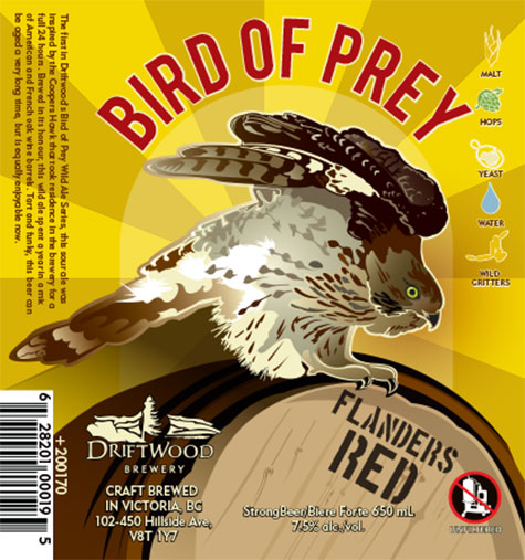 Design and Illustration for Driftwood Brewery's Bird of Prey, flanders red