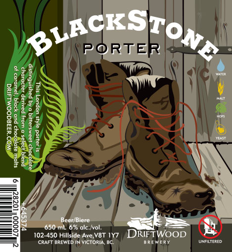 Design and Illustration for Driftwood Brewery's Blackstone Porter