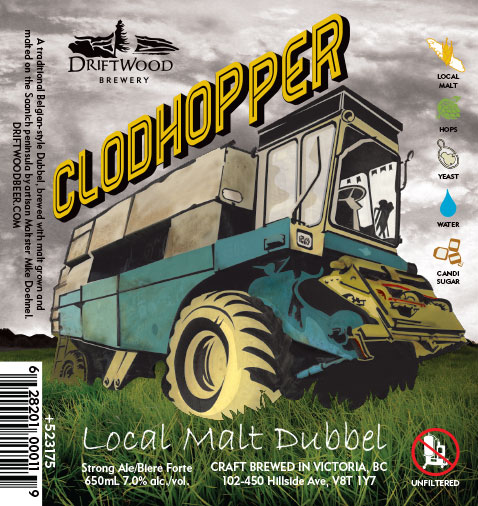 Design and Illustration for Driftwood Brewery's Clodhopper, local malt dubbel