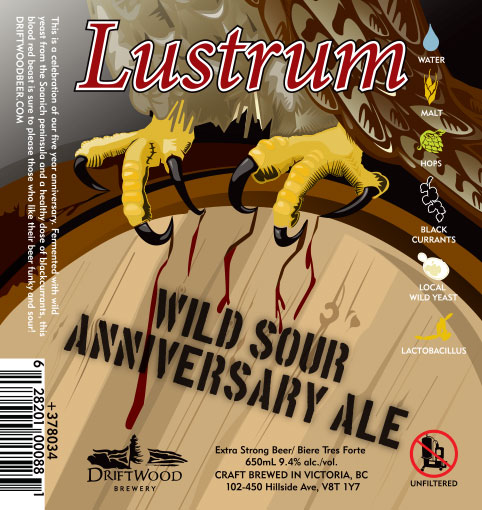 Design and Illustration for Driftwood Brewery's Lustrum Wild Sour Anniversary Ale