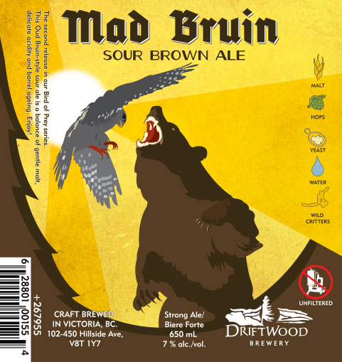 Design and Illustration for Driftwood Brewery's Mad Bruin Sour Brown Ale