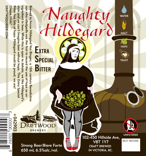 Design and Illustration for Driftwood Brewery's Naughty Hildegard