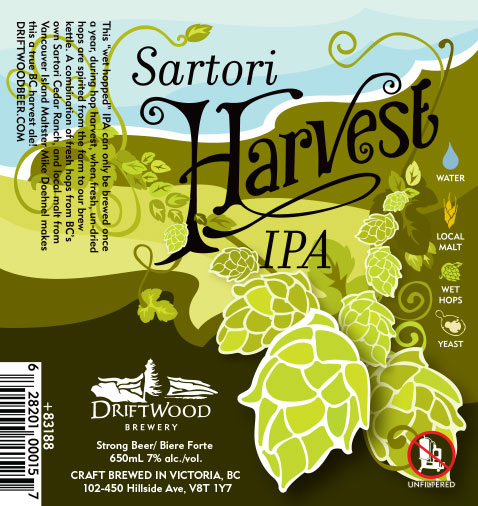 Design and Illustration for Driftwood Brewery's Sartori Harvest IPA