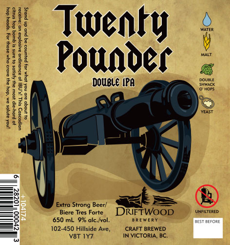 Design and Illustration for Driftwood Brewery's Twenty Pounder Double IPA