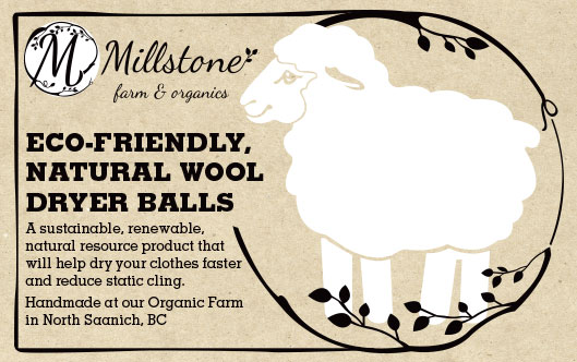 Millstone wool Dryer Ball label design