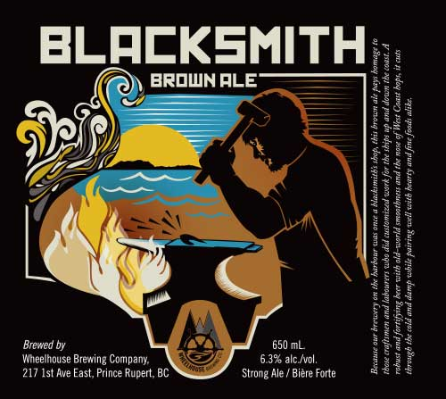 Label Design for Wheelhouse Brewing - blacksmith brown ale