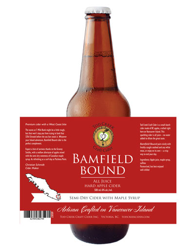 Tod Creek 650 mL bottle design, Bamfield bound