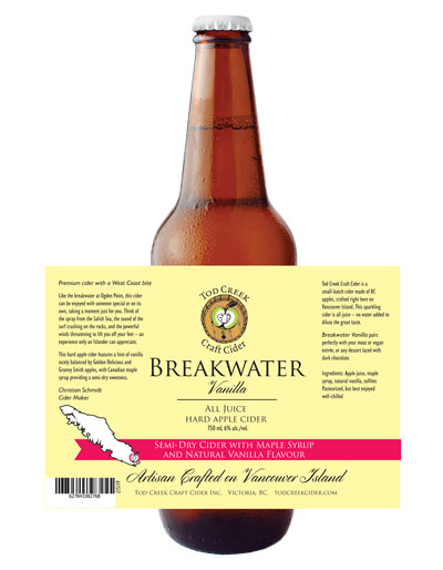Tod Creek 650 mL bottle design, Breakwater