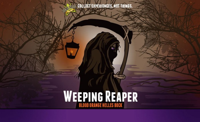 Design for Dead Frog Brewery's Weeping Reaper, Blood Orange Helles Bock