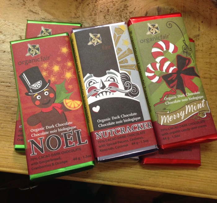 Design for Organic Fair's Holiday bars - reorientation to vertical layout