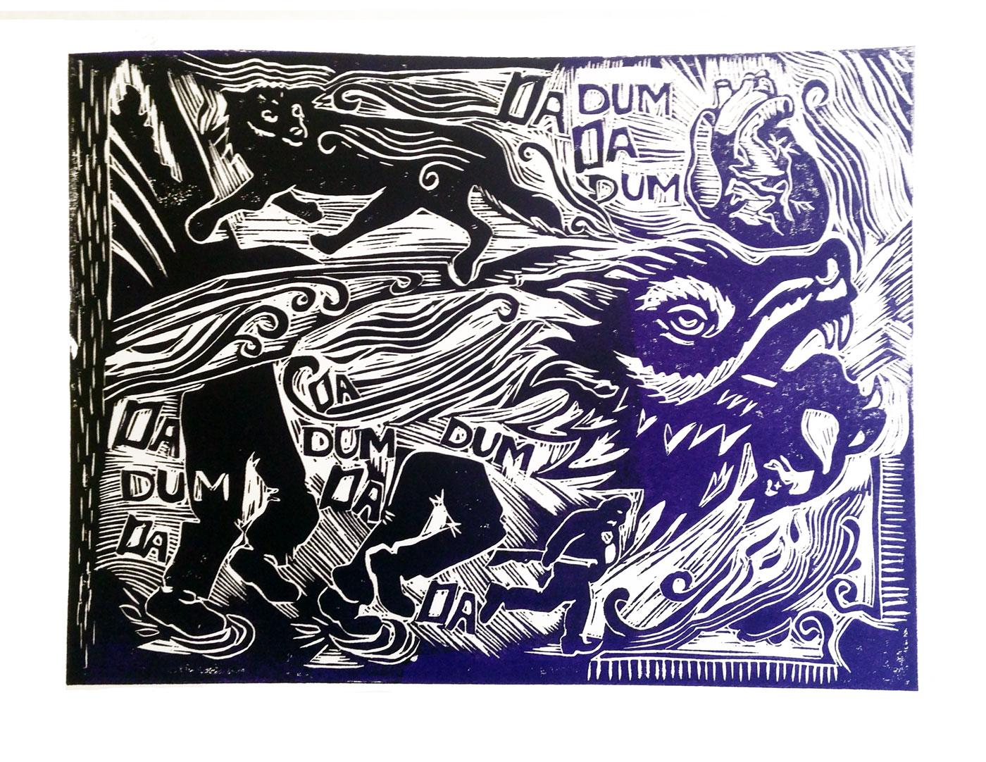 The wolf linocut
