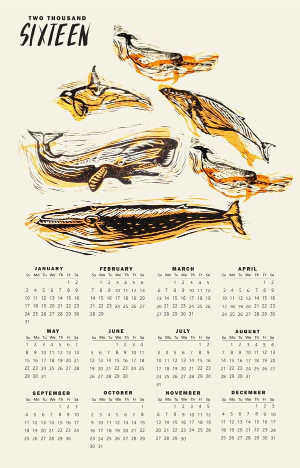 "2016 Whale calendar linocuts. 11""x17"""