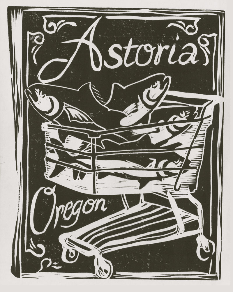 "Astoria, Oregon linocut; 4"" x 6"""