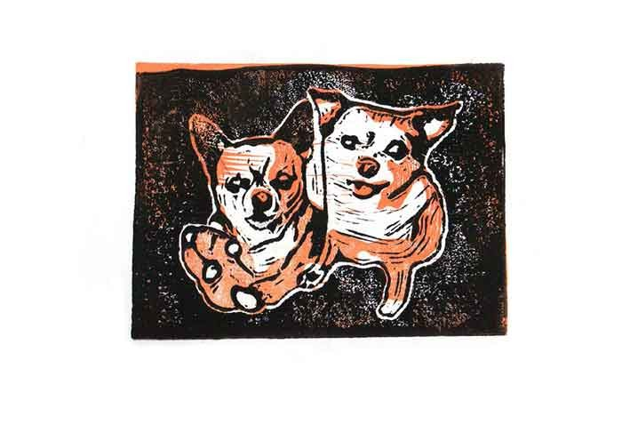 Linocut of Maisie and Lucy, a friend's chihuahuas.