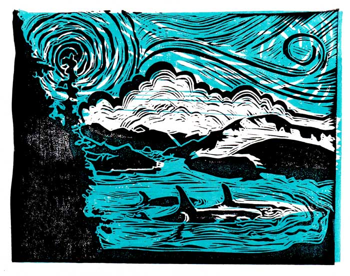 A windy West Coast scene linocut. Carved and printed as souvenirs for my upcoming family reunion.