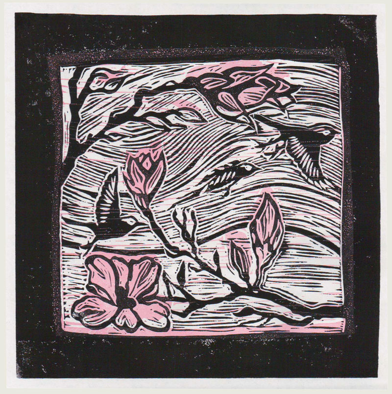 "Magnolia and bird linocut: 5"" x 5"""