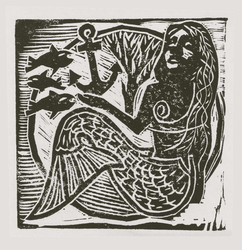 """Mermaid Linocut: 4"""" x 4"""""""