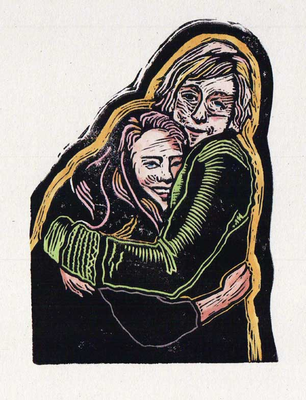 "Mother Daughter Linocut, coloured with Copic markers, 3"" wide"