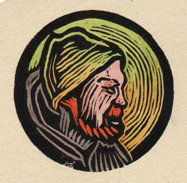 "Nathan Linocut, coloured with Copic markers, 1.75"" wide"