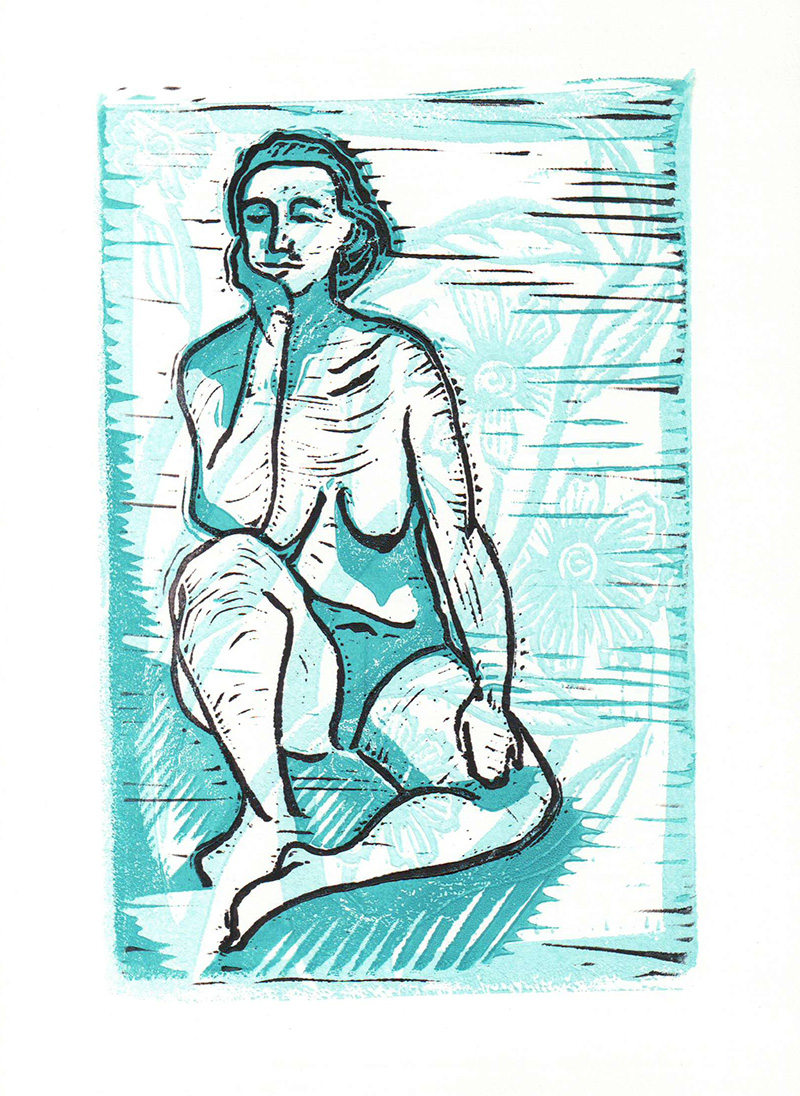 "Nude Lino - three colours. 4"" x 6"""