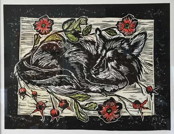 "A linocut of my sweet dog; 8"" x 10"""