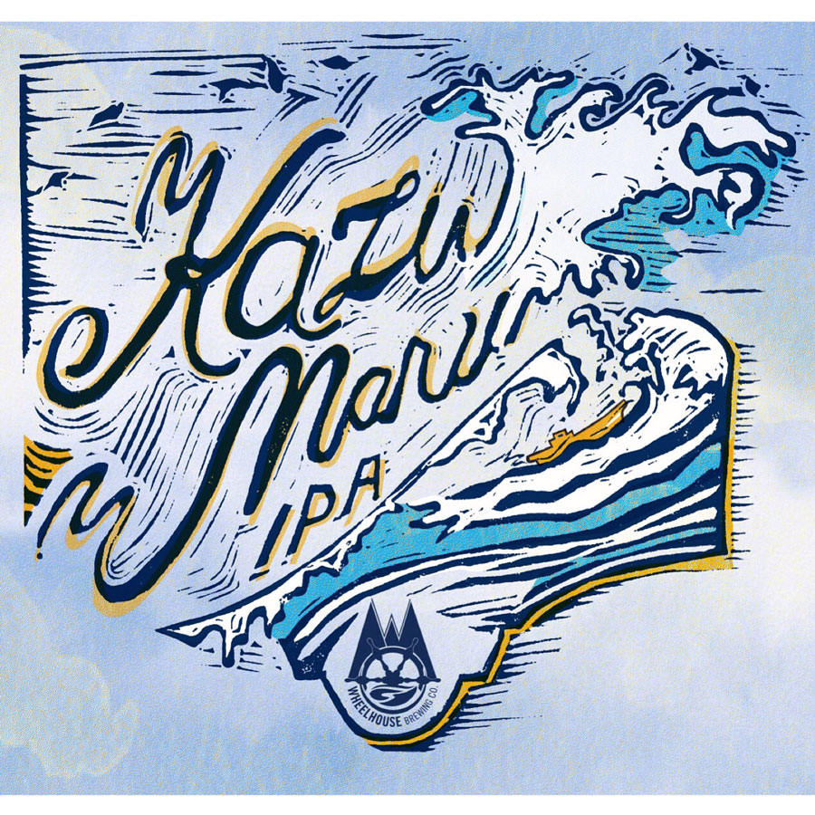 Design and Linocut Illustration for Wheelhouse Brewery's Kazu MAru IPA