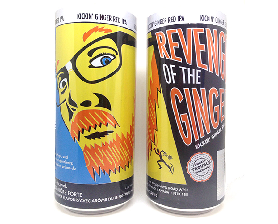 Design and illustration for Double Trouble Brewing's Revenge of the Ginger