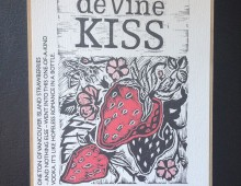 Linocut label design for deVine Spirits Vodka