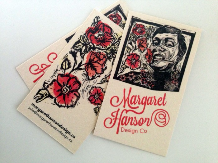 Margaret Hanson Design Co. Linocut Business cards