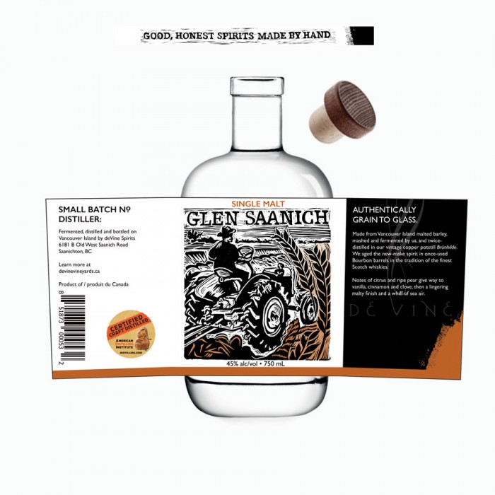 Label Design for deVine Spirits - Single Malt Glen Saanich