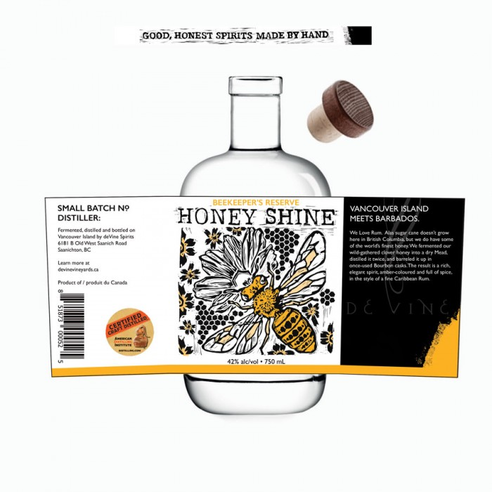 Label Design for deVine Spirits - Honey Shine
