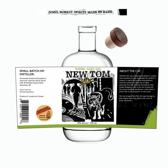 Label Design for deVine Spirits - New Tom Barrel-aged Gin