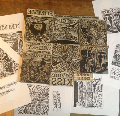 Linocut illustrations for deVine Spirits' labels