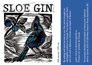 Linocut and label design for deVine Spirits Sloe Gin