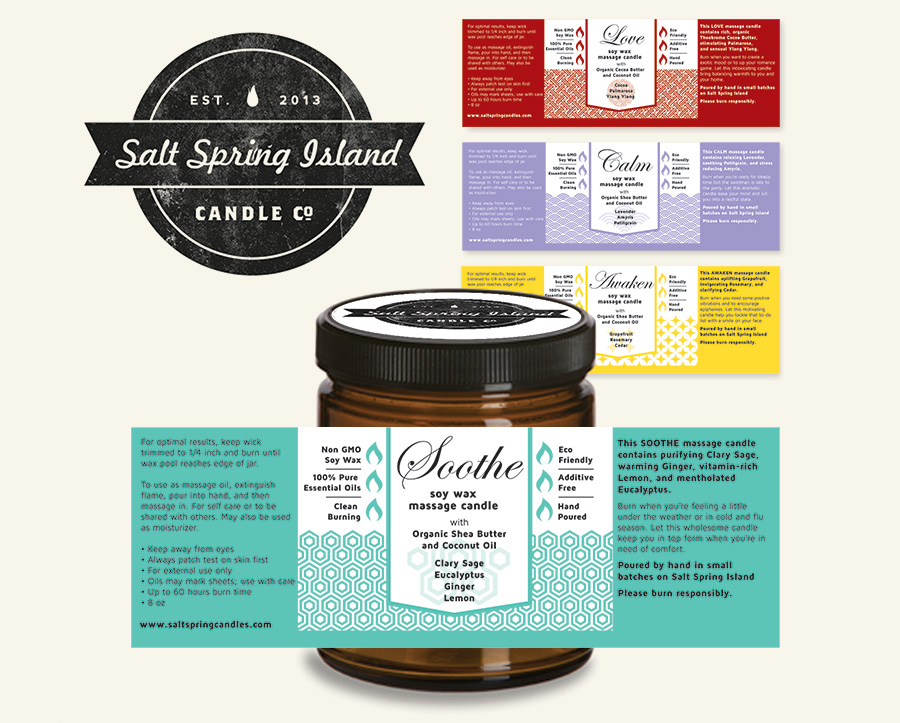 Graphic Design and Packaging for Salt Spring Island Co.'s New Massage Line of Candles