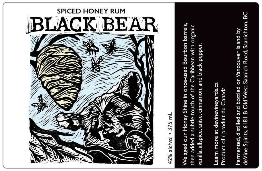 Design and Linocut Illustration for Black Bear Spiced Honey Rum