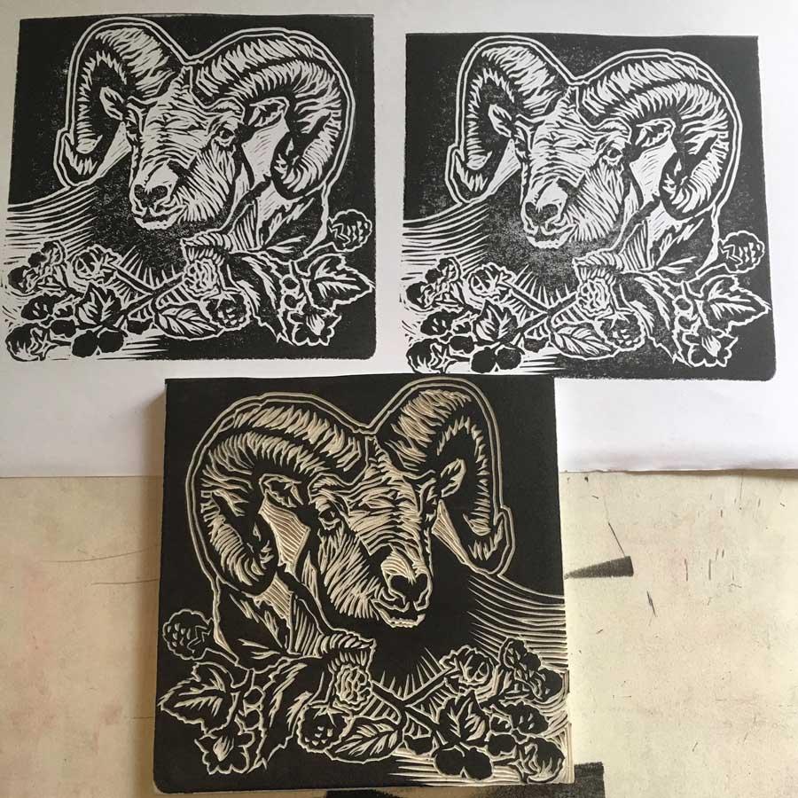 Linocut block print of the Black Ram for deVine's Black Ram Blackberry Brandy