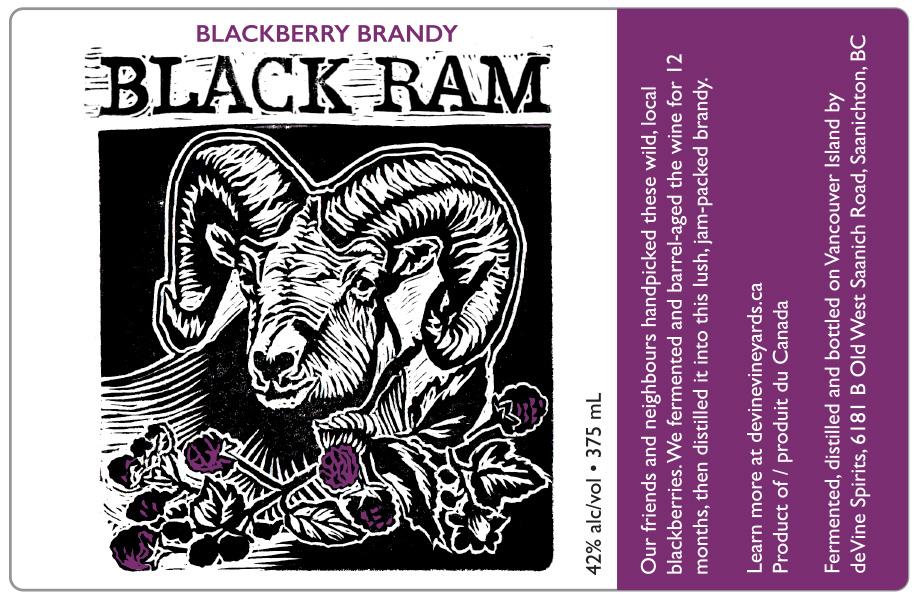 Design and Linocut Illustration for Black Ram Blackberry Brandy