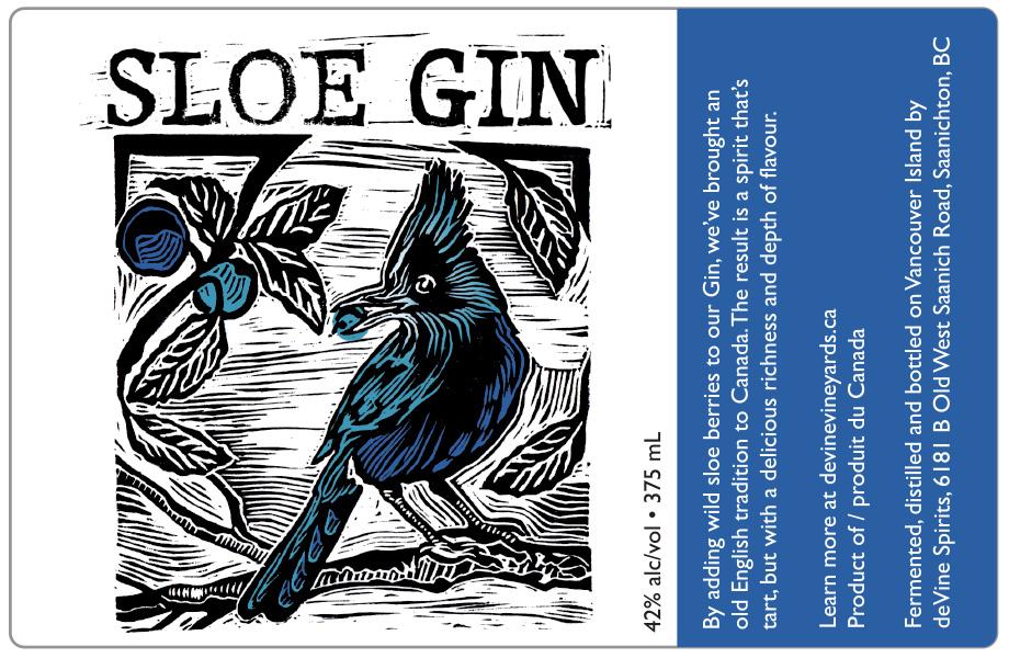 Design and Linocut Illustration for Sloe Gin