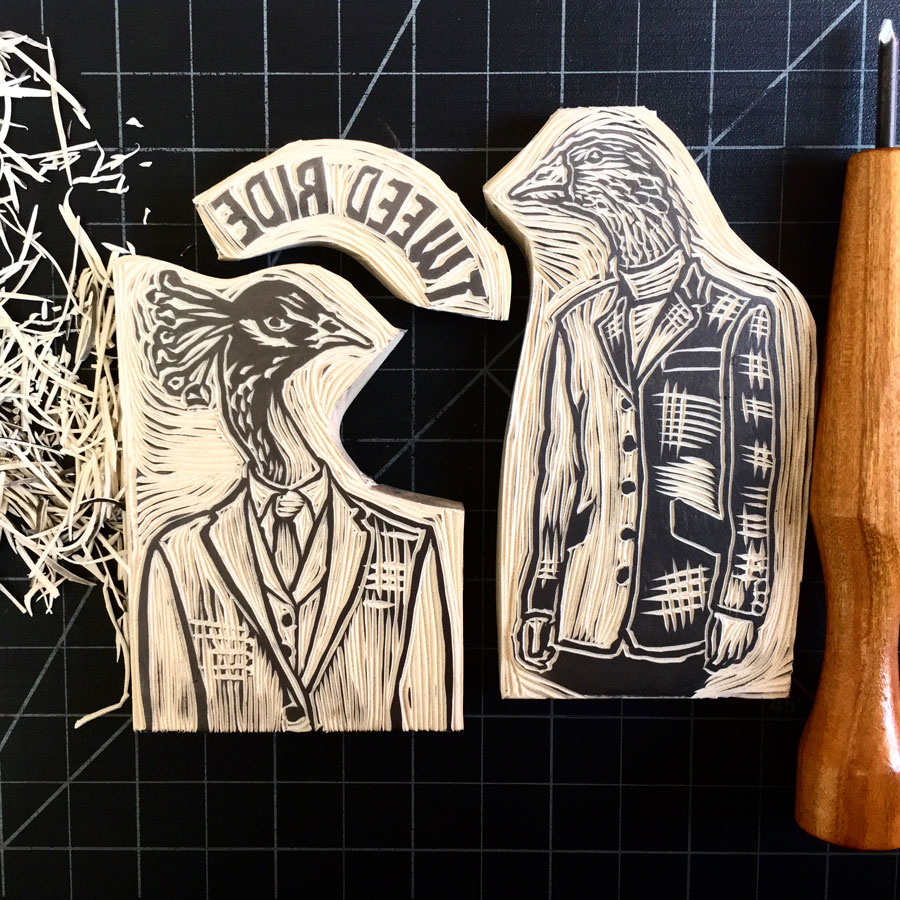 Tweed Ride Victoria Design and branding - the freshly carved linocut blocks