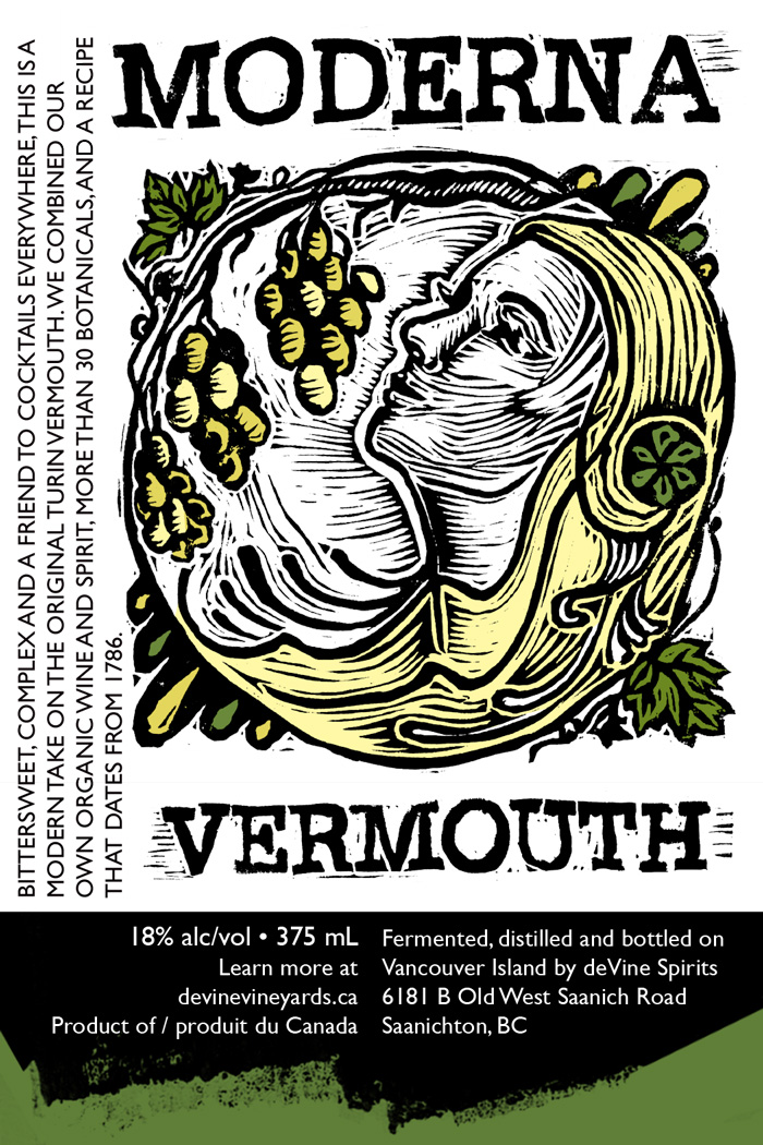 Linocut Illustration label design, Moderna Vermouth