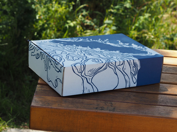 Linocut Box design for Vancouver Island Gift Basket