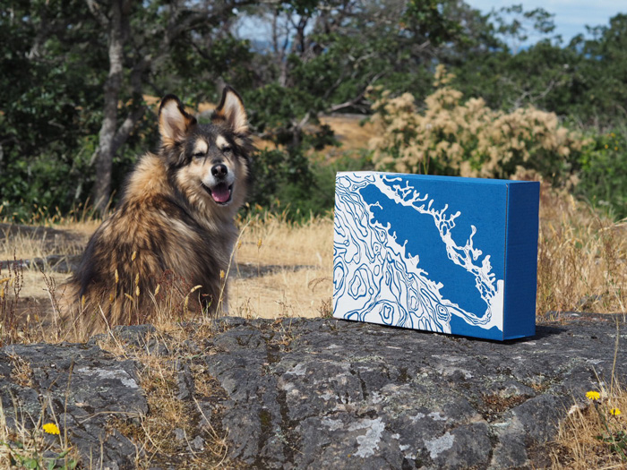 Linocut Box design for Vancouver Island Gift Basket  (multitasked a dog walk with my photoshoot)