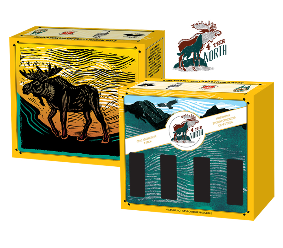 4 the North, beer box design for Barkerville Brewing, Sherwood Mountain, Three ranges Brewing, and Wheelhouse Brewing Co.